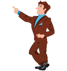 Cartoon man in brown suit pointing with index vector