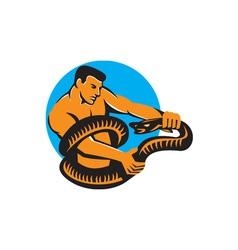 Man Fighting Boa Constrictor Snake Retro vector image