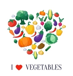 Vegetables flat style icons set in heart vector