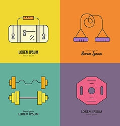 Bodybuilding logo set vector