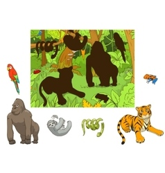Jungle animals cartoon educational game vector