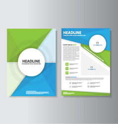Blue green brochure flyer leaflet template set vector