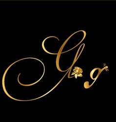 Gold letter G with roses vector image