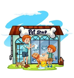 Father and son giving dog a bath vector