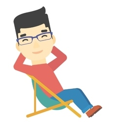 Man sitting in a folding chair vector