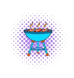 Grill sausages icon comics style vector