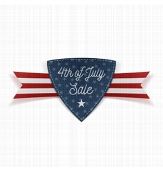 Fourth of july sale label with ribbon vector