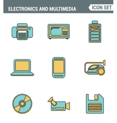 Icons line set premium quality of home electronics vector