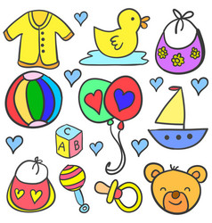 Art of baby set style doodles vector