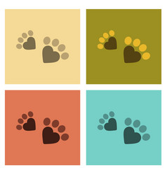 Assembly flat icons cat tracks print vector