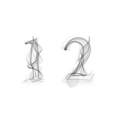 Black Smoke font Numbers 1 2 vector image vector image