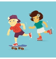 Boy and girl rollerblading vector