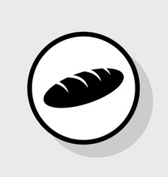 Bread sign flat black icon in white vector