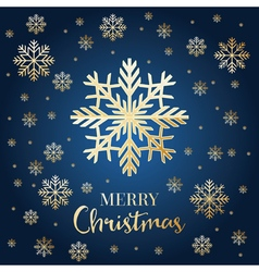 Christmas card with golden snowflakes vector image
