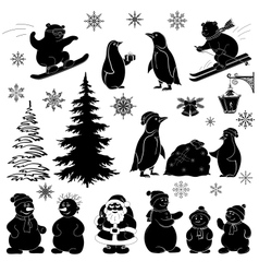 Christmas cartoon set black silhouettes vector