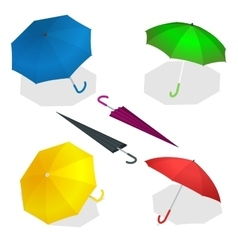 Colorise isometric umbrellas in various positions vector