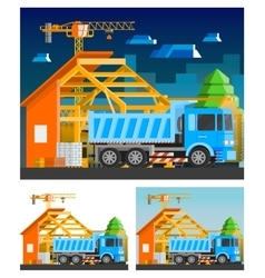 Construction Compositions Set vector image vector image
