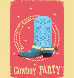 Cowboy party card background with western boot vector