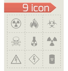 danger icons set vector image