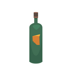 flat bottle and a glass of wine vector image vector image