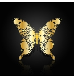 Gold abstract butterfly on black background vector