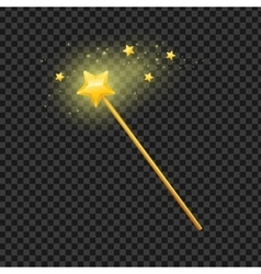 Golden Magic Wand with Star vector image