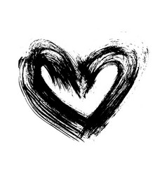 grunge hand drawn ink heart valentine day dry vector image vector image