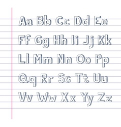Hand drawn alphabet on lined paper vector image
