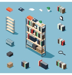 Isometric bookcase and elements vector image vector image