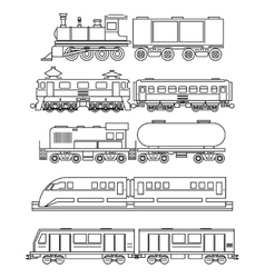 Line art train icons vector image