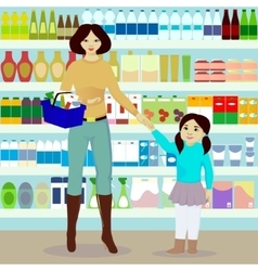 Mother and daughter in grocer vector image vector image