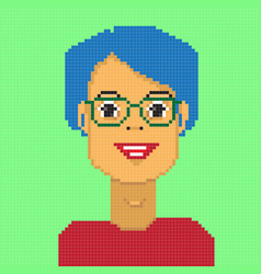 Pixel girl avatar vector