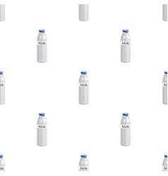 Plastic milk bottle icon in cartoon style isolated vector