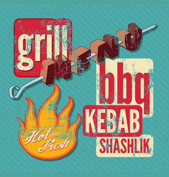 Restaurant grill menu typographic design vector