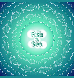 retro vintage round frame with fishes vector image