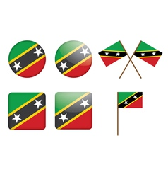 Saint Kitts and Nevis Flag Badge vector image vector image