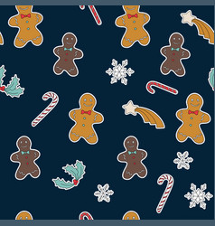 seamless pattern gingerbread and christmas symbols vector image vector image
