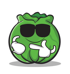 Super cool cabbage cartoon character style vector