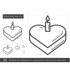 Sweet heart cake line icon vector