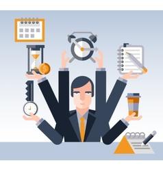 Time management businessman vector