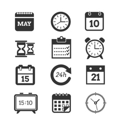 Time schedule icons set vector image vector image
