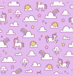 unicorns and rainbows pattern vector image