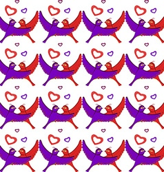 White birds hearts pattern vector image