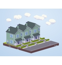 Low poly suburban houses in line vector
