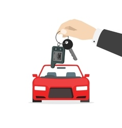 Hand holding car keys near auto isolated vector