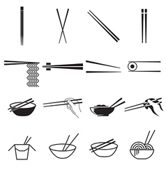 Chopsticks icons vector