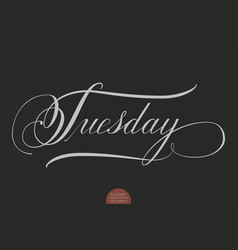 Hand drawn lettering tuesday elegant vector
