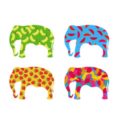 Indian elephant with a pattern of berries vector