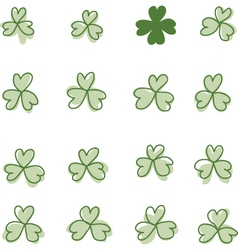 Three and four leaf clover vector