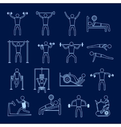 Workout training icons set outline vector image